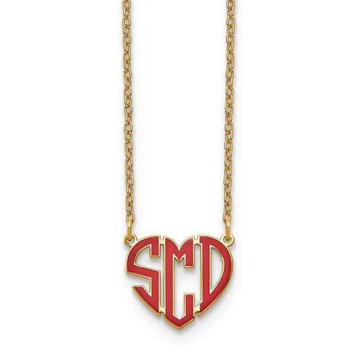 XNA896GP: GP Epoxied Heart Monogram Necklace