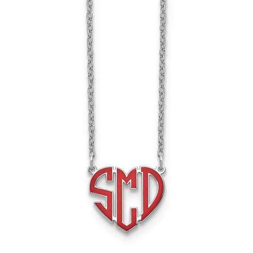 XNA896SS: Sterling Silver Rhodium-plated Epoxied Heart Monogram Neckl