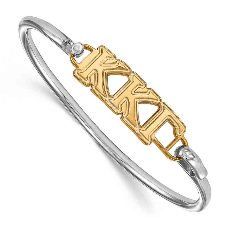 Kappa Kappa Gamma Sterling Silver Yellow Gold Flash Plated Bangle