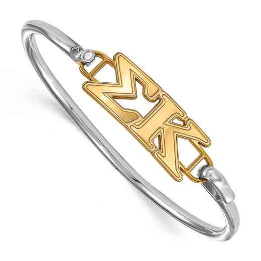 Sigma Kappa Sterling Silver Yellow Gold Flash Plated Bangle