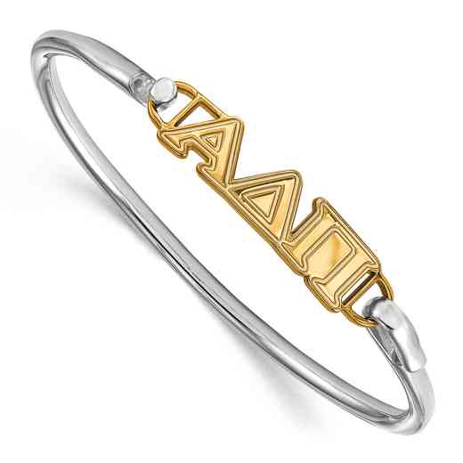 Alpha Delta Pi Sterling Silver Yellow Gold Flash Plated Bangle