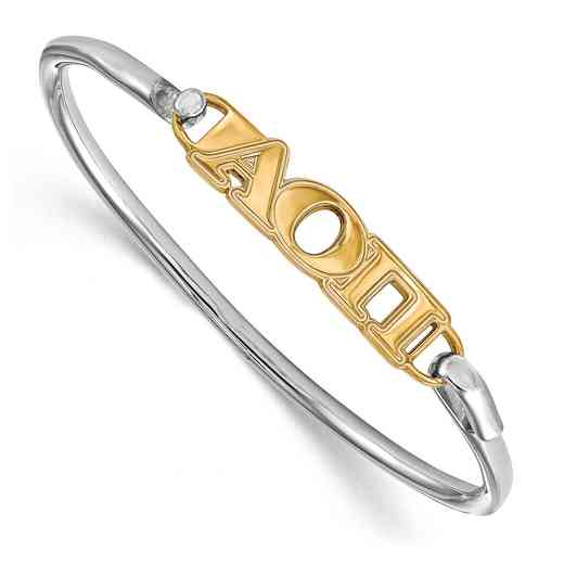 Alpha Omicron Pi Sterling Silver Yellow Gold Flash Plated Bangle