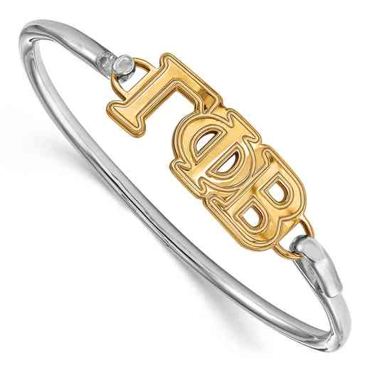 Gamma Phi Beta Sterling Silver Yellow Gold Flash Plated Bangle