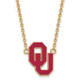 GP017UOK-18: LogoArt NCAA Enamel Pendant - Oklahoma - Yellow