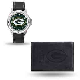 GC4825: Men's NFL Watch/Wallet Set - Green Bay Packers - Black