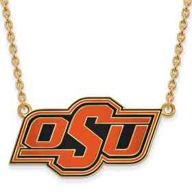 GP065OKS-18: LogoArt NCAA Enamel Pendant - Oklahoma State - Yellow