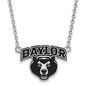 SS051BU-18: LogoArt NCAA Enamel Pendant - Baylor - White