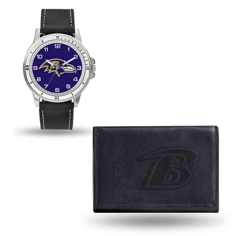 GC4816: Men's NFL Watch/Wallet Set - Baltimore Ravens - Black