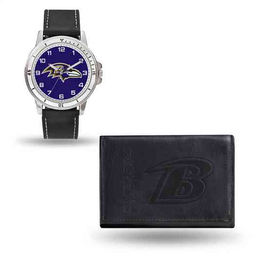 GC4816: Men's NFL Watch/Wallet Set - Baltimore Ravens - Black