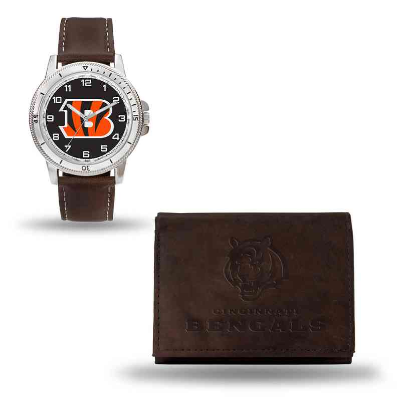 GC4852: Men's NFL Watch/Wallet Set - Cincinnati Bengals - Brown