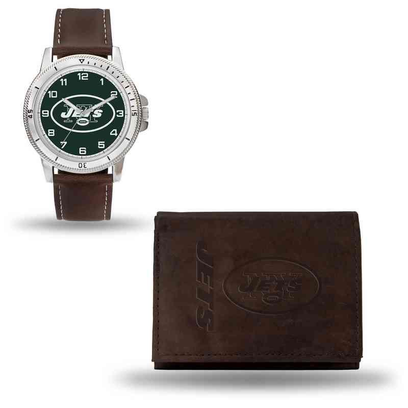 GC4867: Men's NFL Watch/Wallet Set - New York Jets - Brown