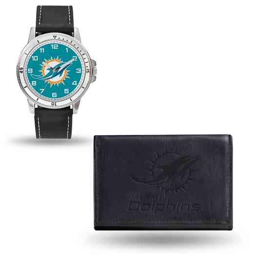 GC4830: Men's NFL Watch/Wallet Set - Miami Dolphins - Black