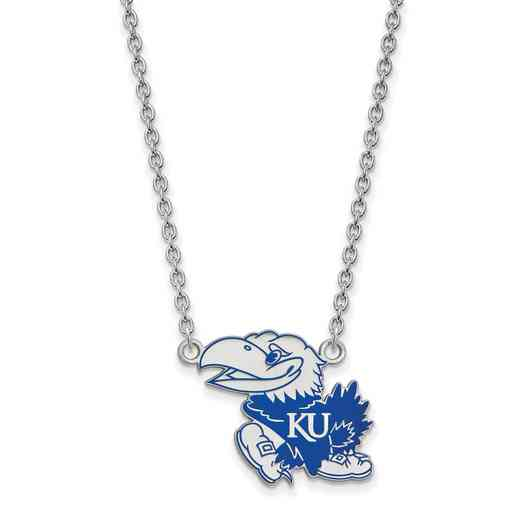 SS078UKS-18: LogoArt NCAA Enamel Pendant - Kansas - White