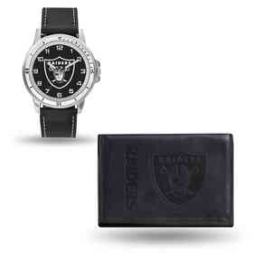 GC4836: Men's NFL Watch/Wallet Set - Oakland Raiders - Black