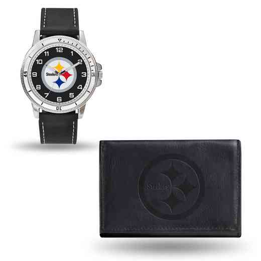GC4838: Men's NFL Watch/Wallet Set - Pittsburgh Steelers - Black
