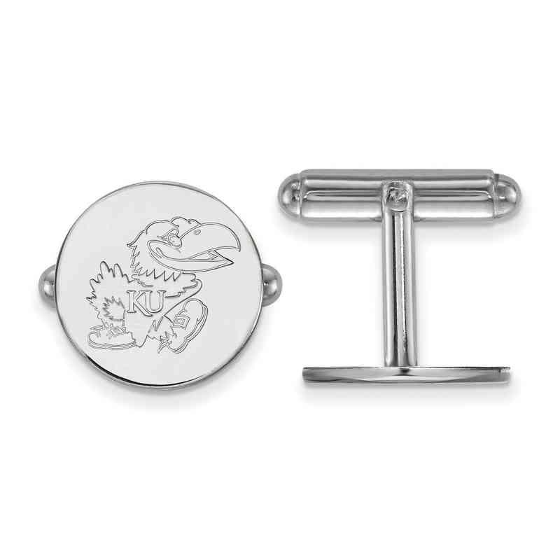 SS071UKS: LogoArt NCAA Cufflinks - Kansas - White