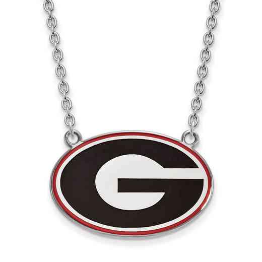 SS083UGA-18: LogoArt NCAA Enamel Pendant - Georgia - White