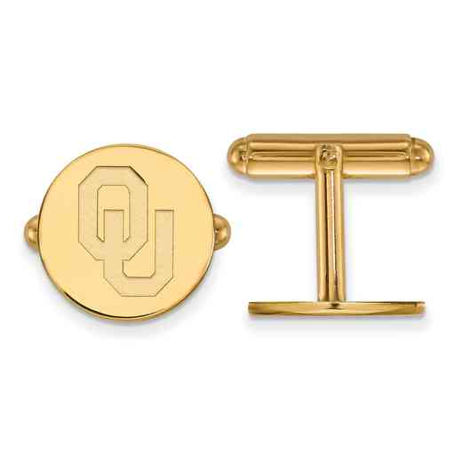 GP011UOK: LogoArt NCAA Cufflinks - Oklahoma - Yellow