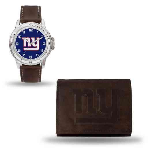 GC4866: Men's NFL Watch/Wallet Set - New York Giants - Brown