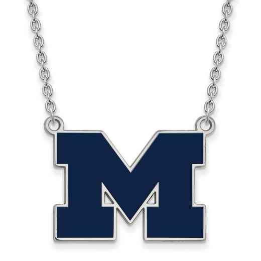 SS060UM-18: LogoArt NCAA Enamel Pendant - Michigan - White