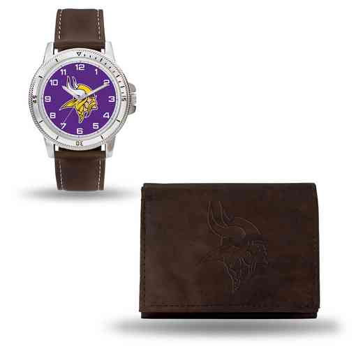 GC4863: Men's NFL Watch/Wallet Set - Minnesota Vikings - Brown