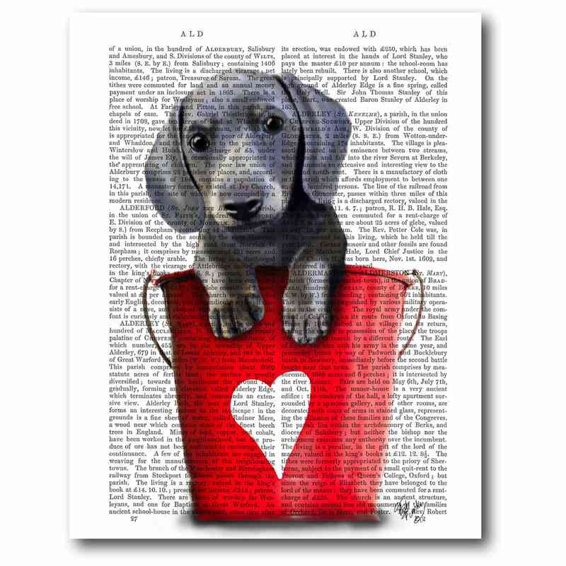 WEB-FA173: Dachshund in Red Bucket Canvas 16x20