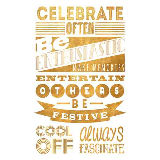DEC-TYP333: Celebrate Gold Med Wall Decal 20x30