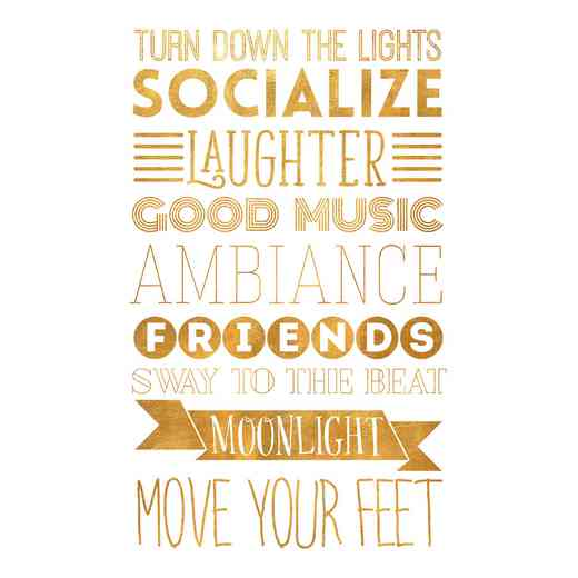 DEC-TYP334: Socialize Gold Med Wall Decal 20x30