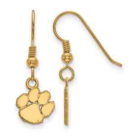 GP006CU: SS YGFP LogoArt Clemson XS Dangle Earrings - Yellow