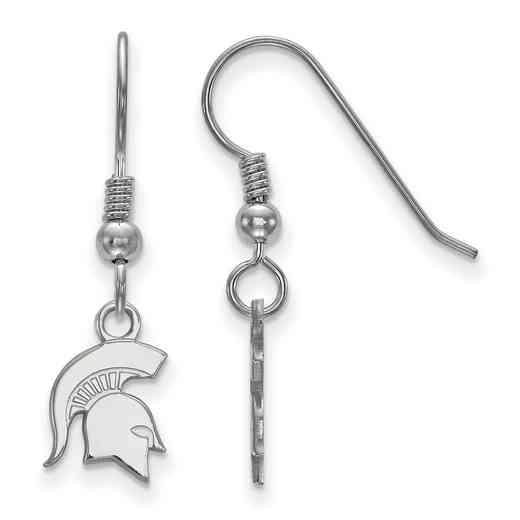 SS048MIS: SS LogoArt Michigan St XS Dangle Earrings - White