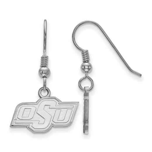 SS005OKS: SS LogoArt Oklahoma St XS Dangle Earrings - White
