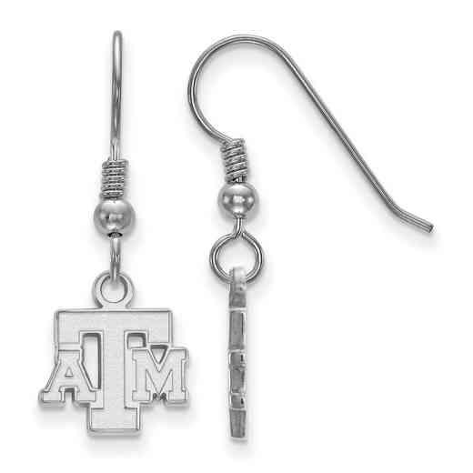 SS058TAM: SS LogoArt Texas A&M XS Dangle Earrings - White