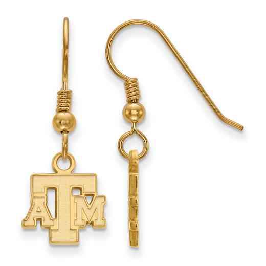 GP058TAM: SS YGFP LogoArt Texas A&M XS Dangle Earrings - Yellow