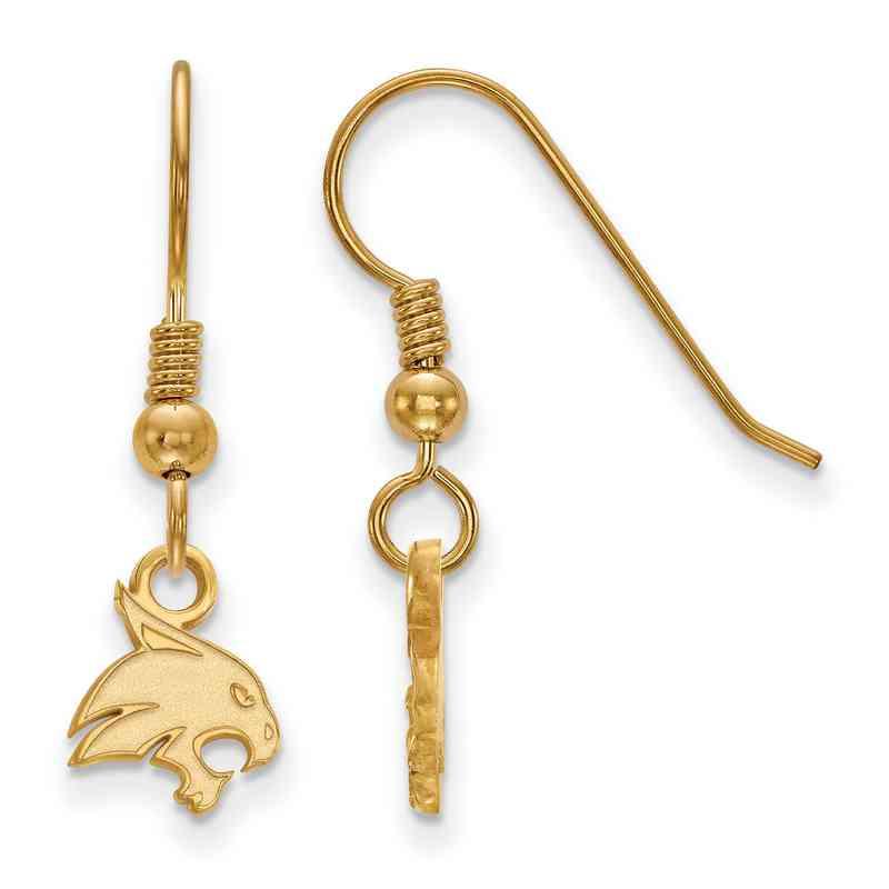 GP005TST: SS YGFP LogoArt Texas St XS Dangle Earrings - Yellow