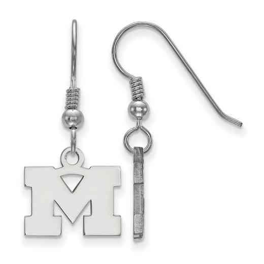 SS006UM: SS LogoArt Michigan XS Dangle Earrings - White