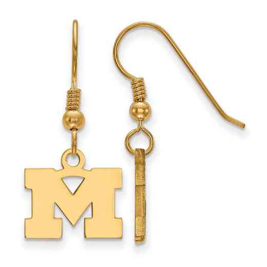 GP006UM: SS YGFP LogoArt Michigan XS Dangle Earrings - Yellow