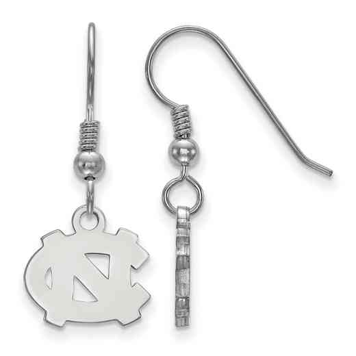 SS006UNC: SS LogoArt N Carolina XS Dangle Earrings - White