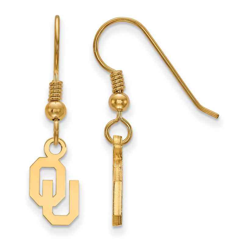 GP006UOK: SS YGFP LogoArt Oklahoma XS Dangle Earrings - Yellow