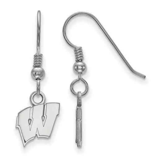 SS006UWI: SS LogoArt Wisconsin XS Dangle Earrings - White
