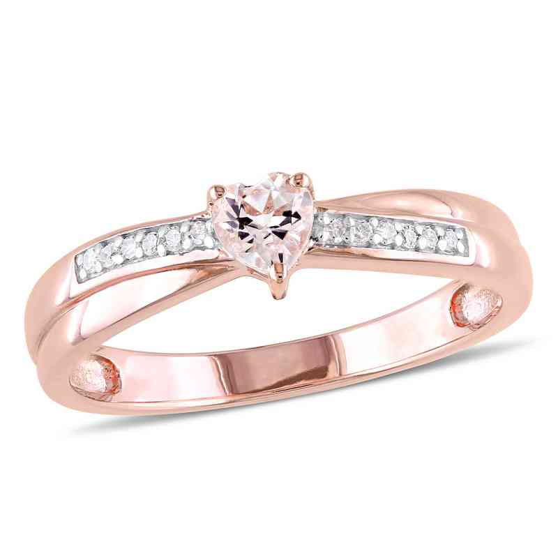 Morganite and Diamond Accent Heart Ring in Rose Gold Flash Plated Sterling Silver