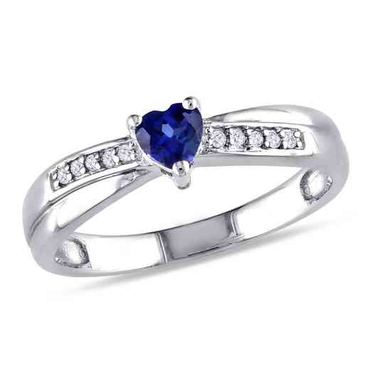 Created Blue Sapphire and Diamond Accent Heart Ring in Sterling Silver