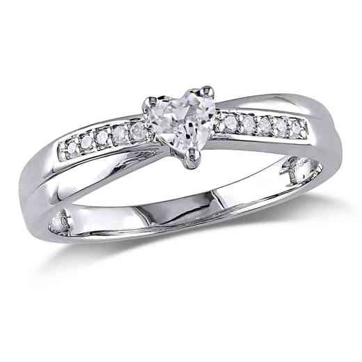 Created White Sapphire and Diamond Accent Heart Ring in Sterling Silver