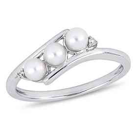 3.5mm-4mm Freshwater Cultured Pearl and Diamond Accent Ring in 10k White Gold