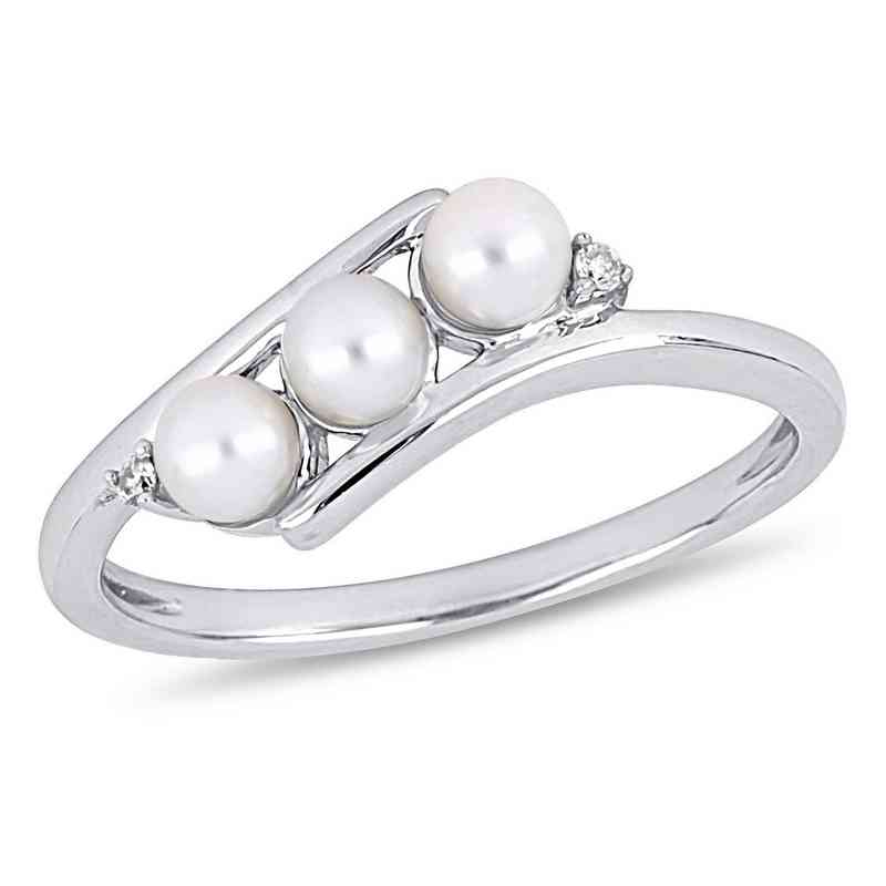 3f40e16dd 3.5mm-4mm Freshwater Cultured Pearl and Diamond Accent Ring in ...