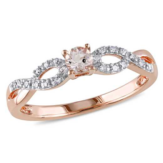 Morganite and Diamond Accent Infinity Ring in Rose Gold Flash Plated Sterling Silver