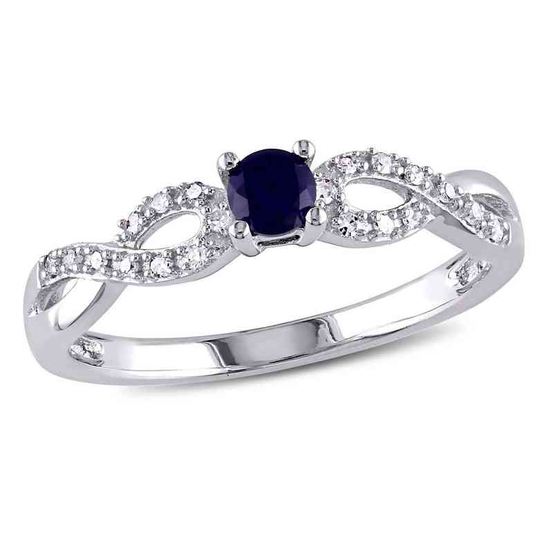 Created Blue Sapphire and Diamond Accent Infinity Ring in Sterling Silver