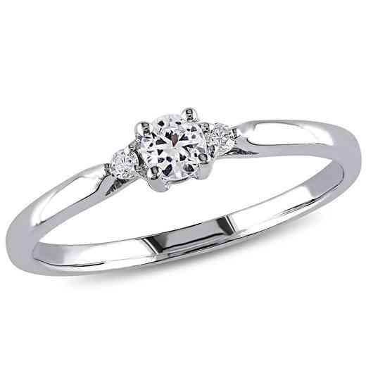 Created White Sapphire and Diamond Accent Three-Stone Ring in Sterling Silver