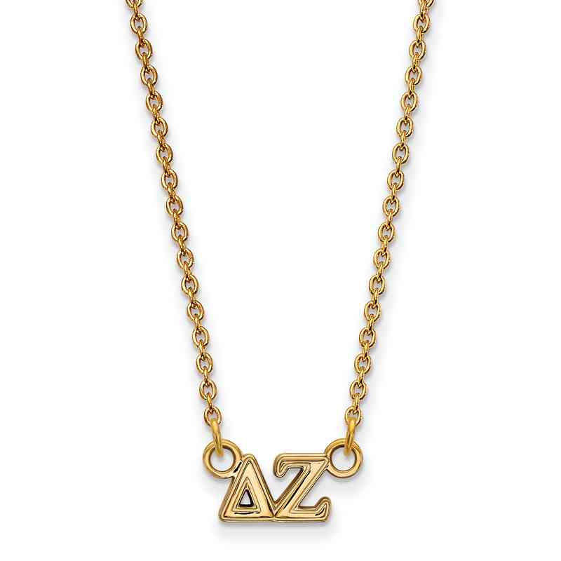 Delta Zeta Gold Flash Plated Sterling Silver Necklace