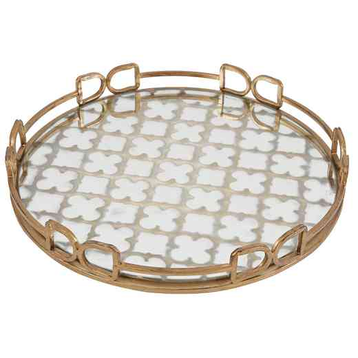 36167: AB Valentina Gold Round Tray, Medium