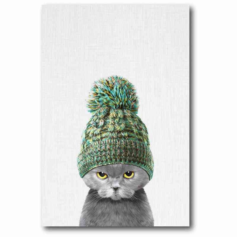 WEB-MV240-12x18: Kitten In Green Hat Canvas 12x18